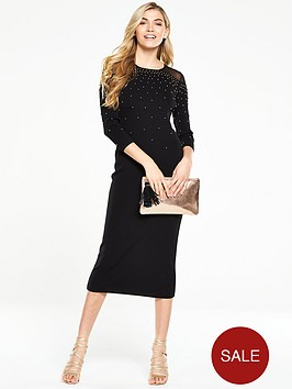 v-by-very-knitted-embellished-midi-dress-with-sheer-yoke