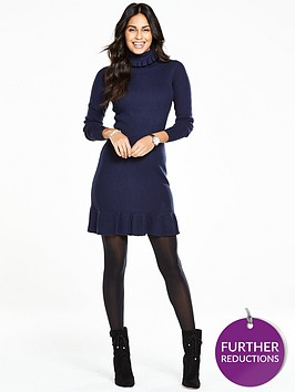 v-by-very-roll-neck-frill-edge-knitted-dress