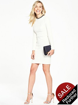 v-by-very-knitted-dress-with-fluted-sleeves-and-diamante-neckline