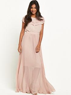 warehouse-pleated-cape-detail-maxi-dress-pink