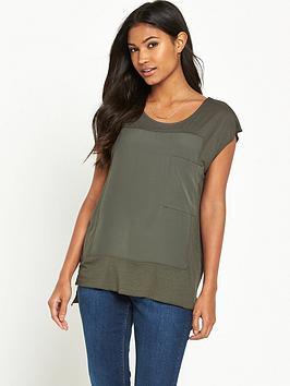 warehouse-pocket-woven-mix-t-shirt-khaki