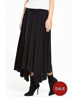 warehouse-crepe-hanky-hem-skirt-black