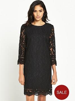 warehouse-bonded-lace-long-sleeve-dress-blacknbsp