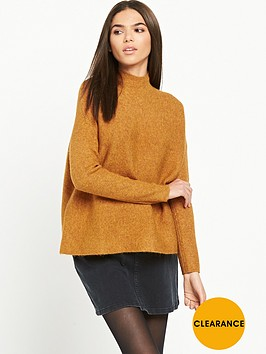 warehouse-ribbed-boxy-turtle-neck-jumper-mustard