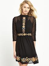 Embroidered Skater Dress - Black