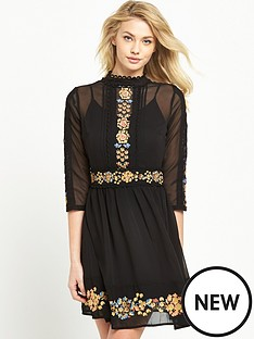 miss-selfridge-embroidered-skater-dress-black
