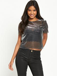 miss-selfridge-metallic-tee