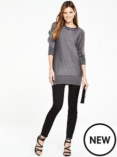 wallis-wallis-gem-neck-cold-shoudler-tunic
