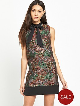 miss-selfridge-metallic-jacquard-floral-shift-dress