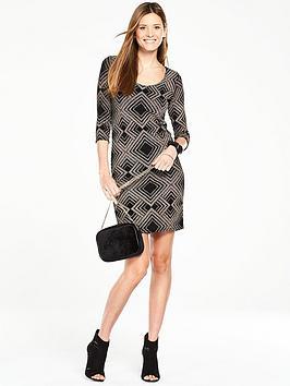 wallis-geo-sparkle-dress-black