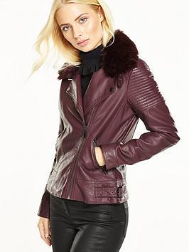 wallis-faux-fur-collar-pu-jacket-red