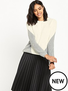 miss-selfridge-zip-back-colourblock-jumper