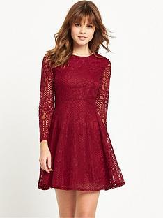 miss-selfridge-long-sleeve-lace-skater-dress