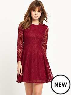 miss-selfridge-long-sleeve-lace-skater-dress