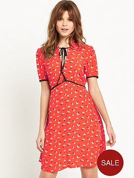 miss-selfridge-printed-tie-neck-tea-dress