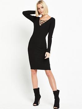 miss-selfridge-lace-up-rib-dress-black