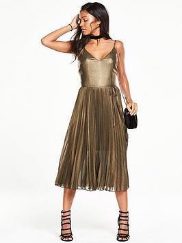 oasis-metallic-pleated-cami-dress
