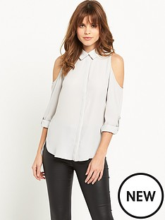 miss-selfridge-cold-shoulder-shirt
