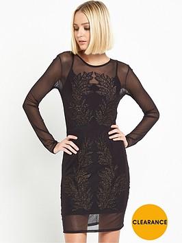 miss-selfridge-long-sleeve-sheer-embroidered-dress-black