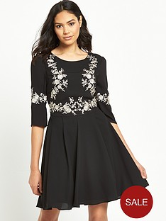 oasis-osaka-embroidered-skater-dress-black