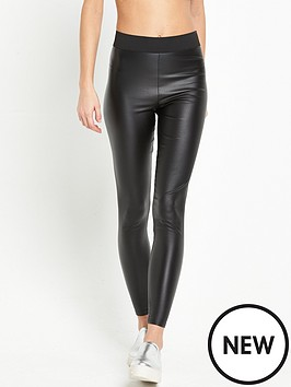 miss-selfridge-pu-coated-legging-black