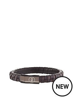 police-stainless-steel-brown-weave-leather-strap-magnet-bracelet