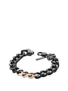 police-hematite-tone-lobster-buckle-chain-curb-chain-bracelet