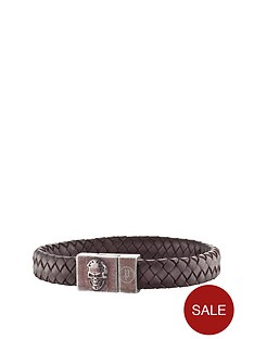police-antique-silver-plate-brown-weave-leather-skull-detail-magnetic-bracelet