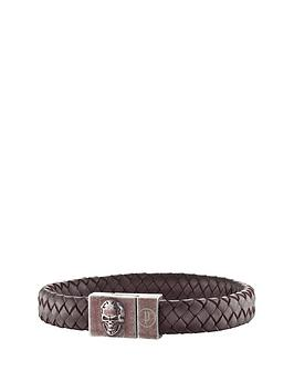 Police Antique Silver Plate Brown Weave Leather Skull Detail Magnetic Bracelet