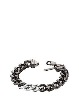 police-silver-tone-lobster-buckle-chain-curb-chain-bracelet