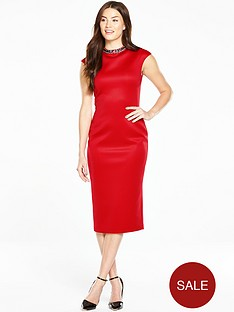 ted-baker-high-neck-embellished-dress-red