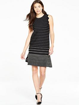 ted-baker-flippy-metallic-jacquard-dress-black