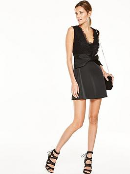 french-connection-juliet-satin-bow-front-dress-black