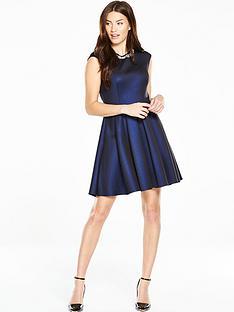 ted-baker-embellished-neck-skater-dress-blue