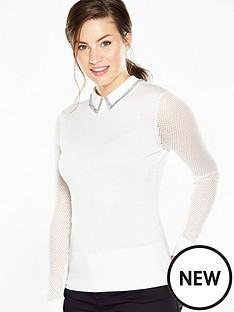 ted-baker-metallic-knit-woven-collar