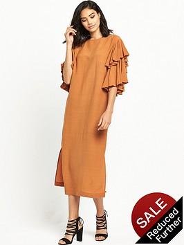 warehouse-ruffle-midi-dress