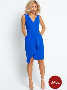 myleene-klass-asymmetric-ruffle-front-pencil-dress-cobalt