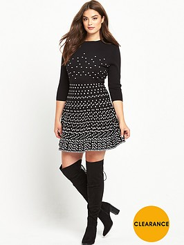 v-by-very-curve-mono-spotted-knitted-dress