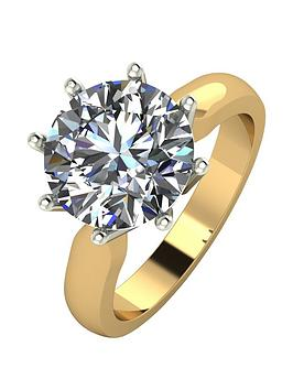 Moissanite Moissanite 9Ct Gold 4Ct Equivalent Moissanite Solitaire Ring Picture