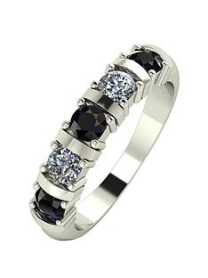 moissanite-9ct-gold-1ct-eq-sapphire-and-moissanite-bar-set-5-stone-ring