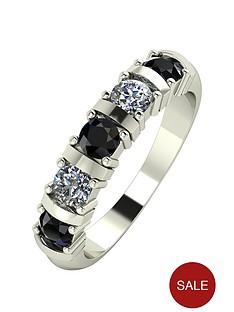 moissanite-9ct-gold-1ct-eq-sapphire-and-moissanite-bar-set-5-stone-ring
