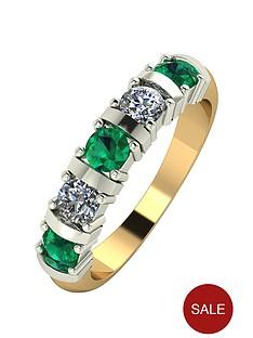 moissanite-9ct-gold-1ct-eq-emerald-and-moissanite-bar-set-5-stone-ring