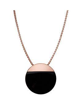 skagen-rose-gold-plated-black-circle-pendant
