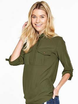 V By Very Pocket Detail Military Blouse