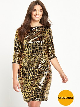 v-by-very-curve-animal-print-sequin-shift-dress