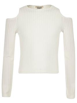 river-island-girls-cream-cold-shoulder-top