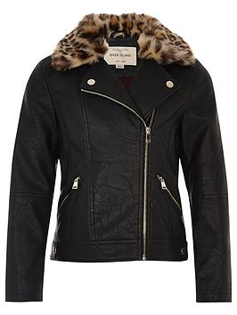 river-island-mini-girls-leopard-print-trim-biker-jacket