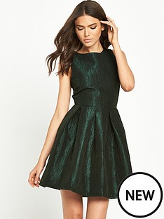 vila-metallic-textured-skater-dress