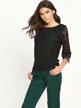 vila-lace-three-quarter-sleeve-top-black
