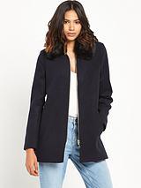 Faux Fur Collar Coat